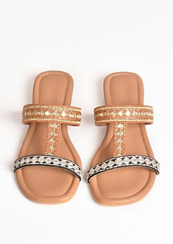 Black And Tan Flats With Silver Zari And Mirror Embroidery By Sole House