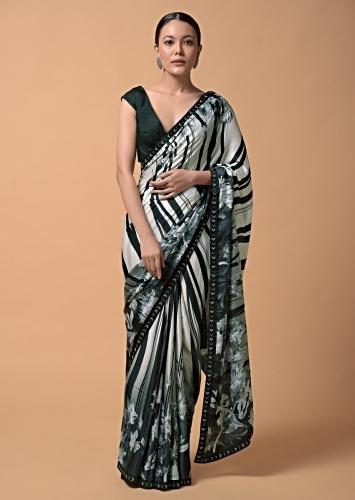 Black And White Shaded Saree In Satin With Striped And Floral Print Online - Kalki Fashion