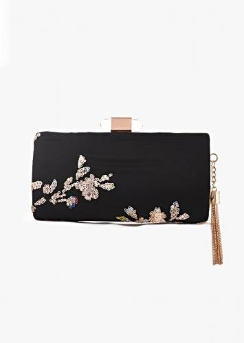 Ink Black Box Clutch With Sequins Embroidered Floral Pattern Online - Kalki Fashion