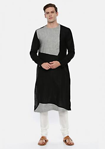 Black Colorblocked Kurta Set In Linen With Grey Checks Fabric And Potli Button Details By Mayank Modi