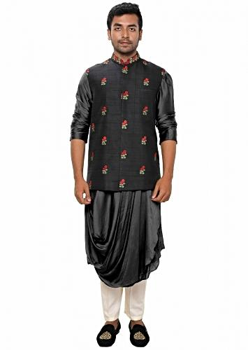 Black Kurta With Cowl Drape Paired With A Black Floral Hand Embroidered Jacket Online - Kalki Fashion