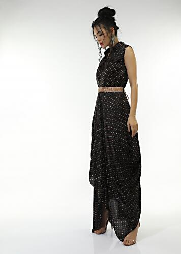 Black Cowl Dress In Satin Blend With Bandhani And And Zardosi Embroidered Red Belt Online - Kalki Fashion