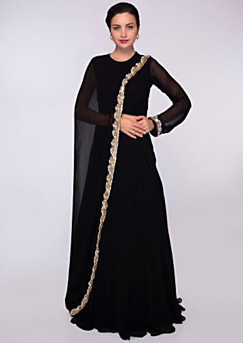 122ebab42 Black georgette top with one side sleeves and additional top paired with a  matching skirt only