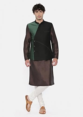 Black And Green Color Blocked Modi Jacket In Cotton Silk With Overlapping Placket By Mayank Modi