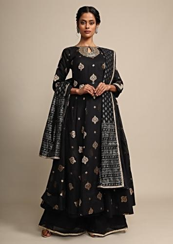 Black Palazzo Suit With Weaved Geometric Buttis And Zardozi Accents On The Neckline Online - Kalki Fashion
