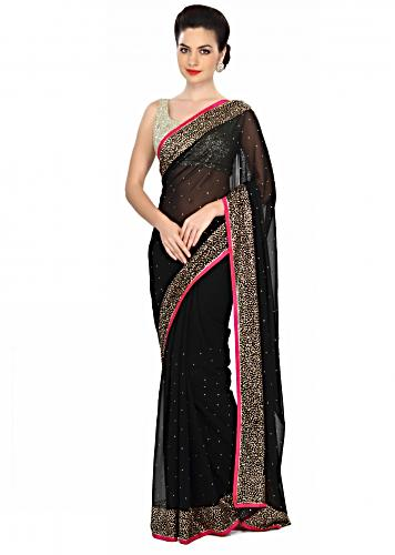 0ddf9da8fa Haute black saree embellished in kundan embroidery only on Kalki