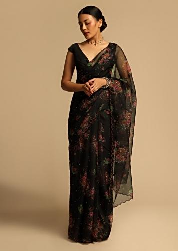 Black Saree In Organza With Floral Print All Over And Scalloped Resham Border Along With Unstitched Blouse Online - Kalki Fashion