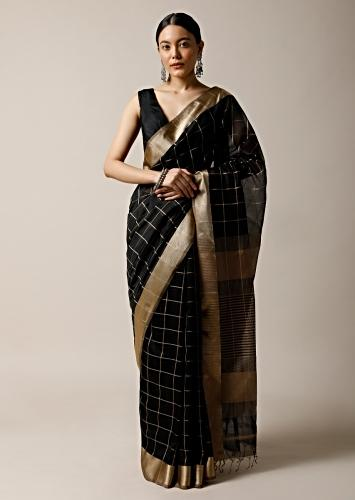Black Saree In Cotton Silk With Woven Zari Checks And Gold Border Along With Unstitched Blouse Online - Kalki Fashion