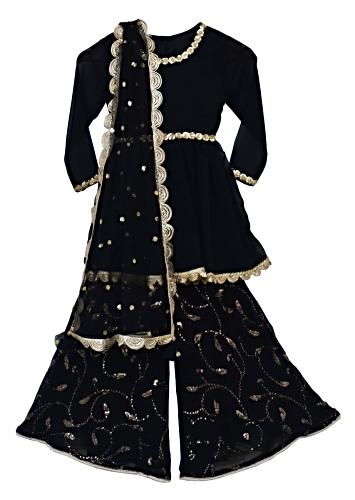 Black Sharara Suit With Sequins Embroidery In Floral Jaal By Fayon Kids