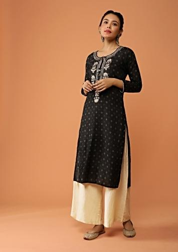 Black Straight Cut Kurti With Printed Buttis And Floral Embroidered Placket With Sequins And Zari Work Online - Kalki Fashion