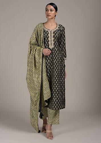 Black Straight Cut Suit In Cotton With Batik Printed Buttis And Zari Highlights Online - Kalki Fashion