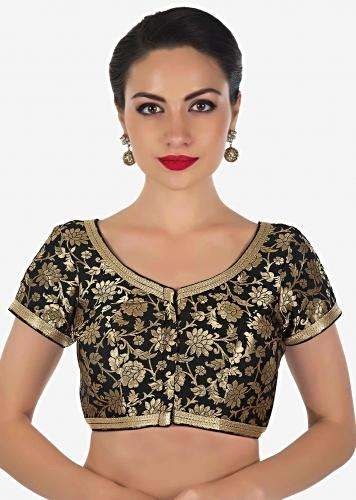 e375d03de95b4 Black brocade blouse features with gold lace only on Kalki