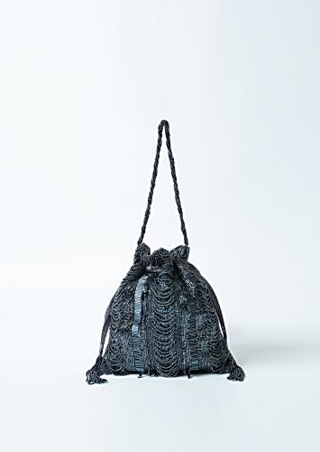 Black Potli Bag In Raw Silk Hand Embroidered With Cut Dana And Bead Strings Online - Kalki Fashion