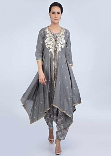 547c7c59823 Block printed grey jumpsuit with a fancy asymmetric tie up jacket only on  Kalki