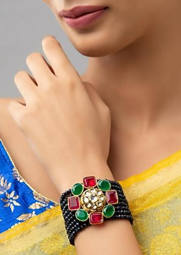 Blue Agate Strings Bracelet With Hydro Kundan Polki In Floral Motif Accented With Red And Green Hydro Online - Joules By Radhika