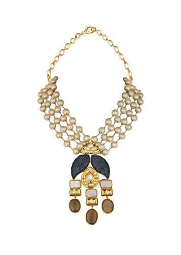 Blue And Gold Shell Pearl Necklace With Carved Blue Onyx, Kundan And Baroque Pearl Pendant Online - Joules By Radhika