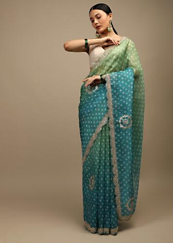 Blue And Green Shaded Saree In Organza With Bandhani Buttis And Gotta Patti Embroidered Scallop Cut Border Online - Kalki Fashion