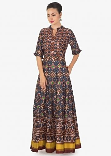 f1a0a41dc7f Blue and red long dress in patola silk with ikkat motif print only on Kalki