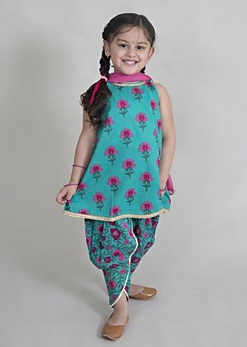 Blue Dhoti Suit In Cotton With Floral Printed Buttis And Jaal Design By Tiber Taber