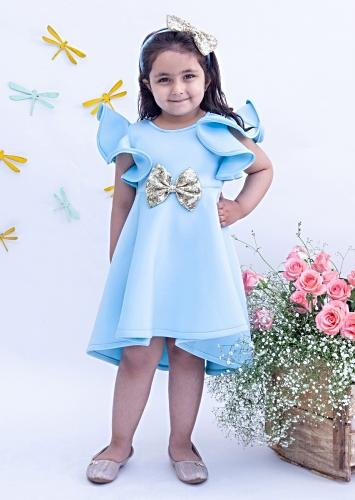 Blue Dress In Lycra With Ruffle Detailing And Golden Sequins Bow By Fayon Kids