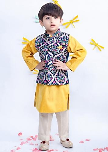 Blue Embroidered Nehru Jacket In Velvet With Yellow Kurta And Pant By Fayon Kids