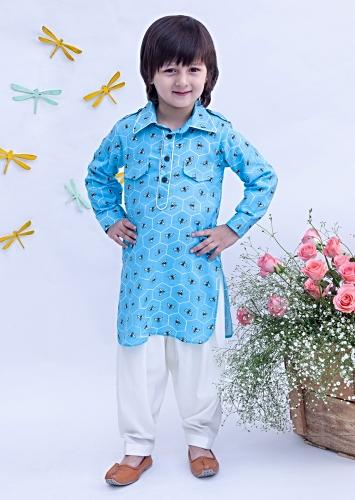 Blue Kurta And Salwar Set Featuring Printed Buttis In Bee And Beehive Motifs By Fayon Kids