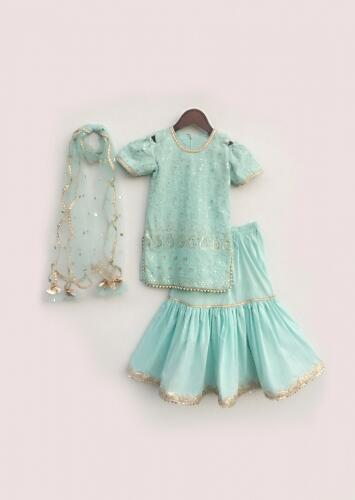 Blue Lehenga And Kurti Set With Lucknowi Embroidery And Lace Detailing Online - Free Sparrow