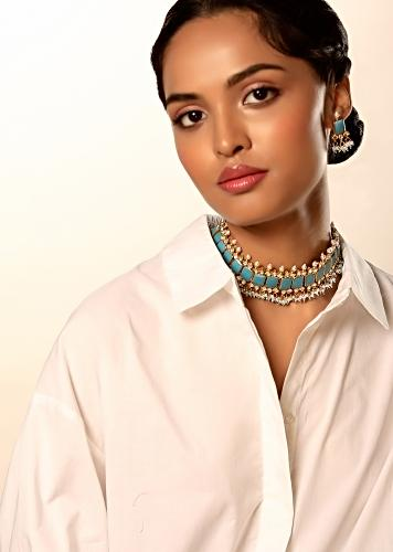Blue Precious Stone Necklace And Earrings Set In Geometric Motif With Kundan And Dangling Moti And Bead Tassels By Kohar