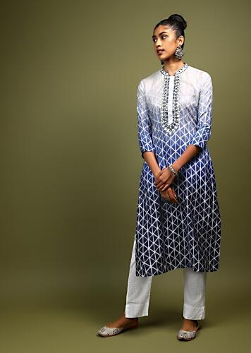 Blue Shaded Kurta In Cotton With Batik Printed Geometric Design All Over And Mirror Embellished Neckline Online - Kalki Fashion