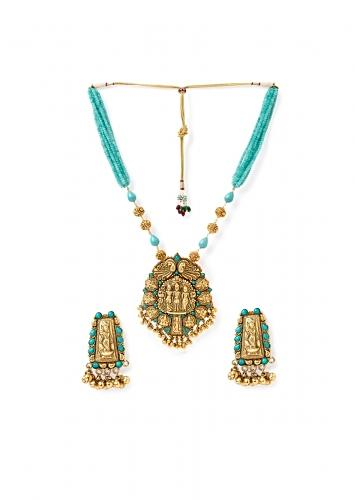 Blue Temple Necklace And Earrings Set With Agate Beads, Turquoise, Tassels And Carved Gold Plated Beads Online - Joules By Radhika
