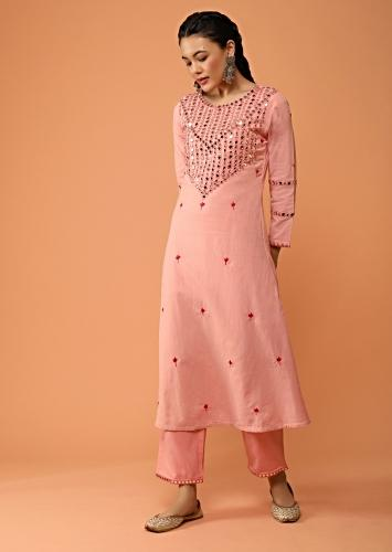 Blush Pink A Line Suit In Jute Cotton With Mirror Abla Embroidered Yoke Design And Straight Cut Pants Online - Kalki Fashion