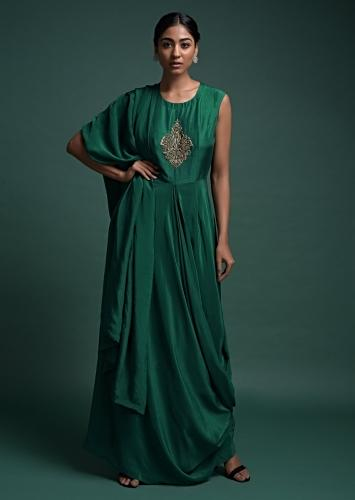 Bottle Green Indowestern Suit With Attached Drape And Zardozi Embroidered Bodice Online - Kalki Fashion