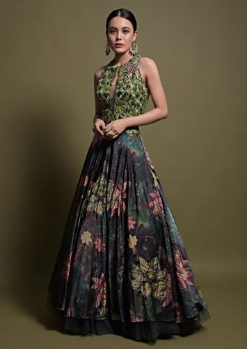 Bottle Green Lehenga In Satin With Multi Color Floral Print And Resham Embroidered Crop Top Online - Kalki Fashion