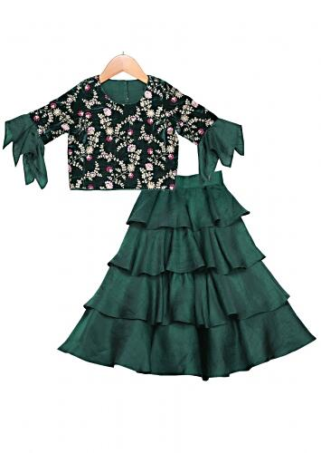 Bottle Green Tiered Skirt Set With N Embroidered Velvet Crop Top Online - Free Sparrow