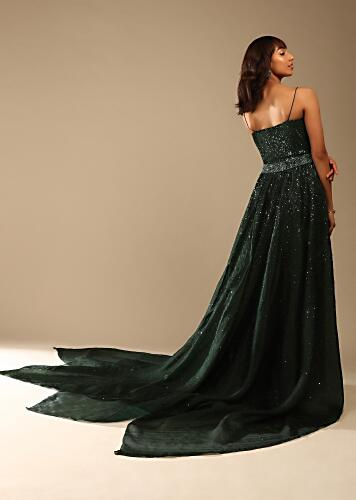 Bottle Green Cocktail Gown In Sequins Fabric With Cowl Drape On The Neck And Detachable Organza Trail Online - Kalki Fashion