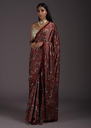 Brick Red Saree In Satin With Floral Print And A Contrasting Cream Sequins Blouse Online - Kalki Fashion