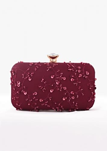 Burgundy Rounded Box Clutch With Embroidered Net Adorned In Beads, Sequins And Resham In Jaal Design Online - Kalki Fashion