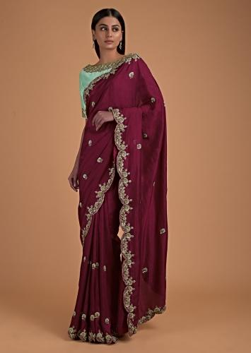 Burgundy Saree In Cotton Silk And Mint Green Blouse With Floral Embroidery Online - Kalki Fashion