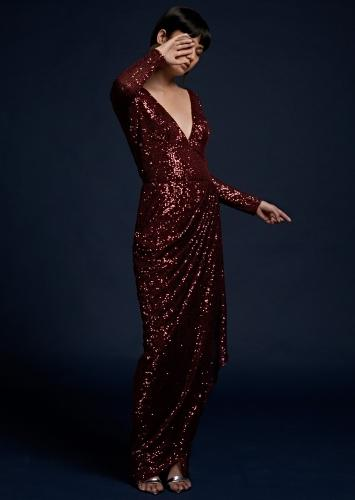 Burgundy Gown In Sequins Fabric With Fancy Drape Silhouette And Plunging V Neckline Online - Kalki Fashion
