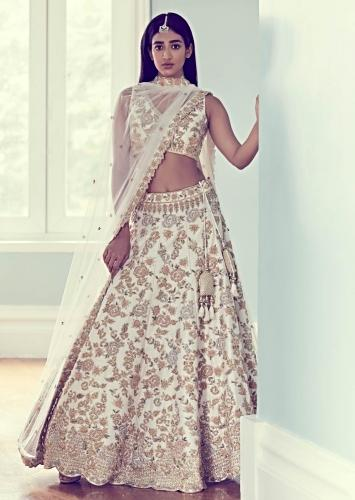 Butter Cream Lehenga Choli In Raw Silk With Handcrafted Floral Jaal Pattern Online - Kalki Fashion