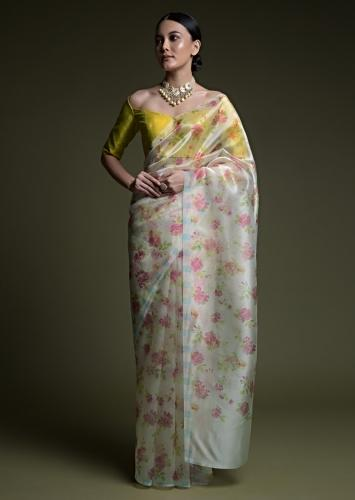 Butter Cream Saree In Organza With Printed Floral Jaal And Unstitched Blouse Online - Kalki Fashion