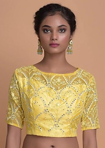 Butter Yellow Blouse With Mirror And Zardozi Embroidery Online - Kalki Fashion