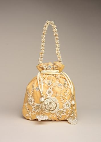 Butter Yellow Potli Bag In Raw Silk With Moti Embroidery In Rose Motif And Floral Design Online - Kalki Fashion