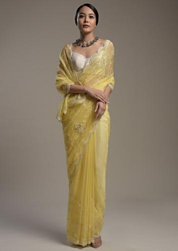 Butter Yellow Saree In Organza With Moti And Cut Dana Embroidered Border And Unstitched Blouse Online - Kalki Fashion