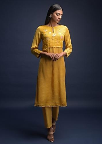Butterscotch Yellow A Line Suit In Cotton With Thread Embroidered Organza Layer On The Bodice Online - Kalki Fashion