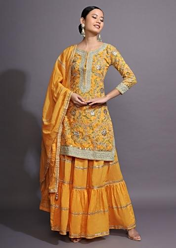 Canary Yellow Straight Cut Suit And Skirt With Floral Print And Gotta Patti Work All Over Online - Kalki Fashion