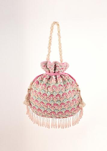 Candy Floss Pink Potli In Velvet Heavily Embroidered With Multi Colored Thread And Moti Work In Scalloped Motifs And Tassel Fringes By Shubham