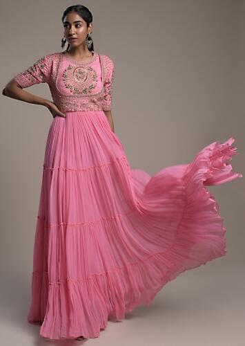 Candy Pink Indowestern Gown Hand Embroidered With Zardosi And Cut Dana Work On The Bodice Online - Kalki Fashion