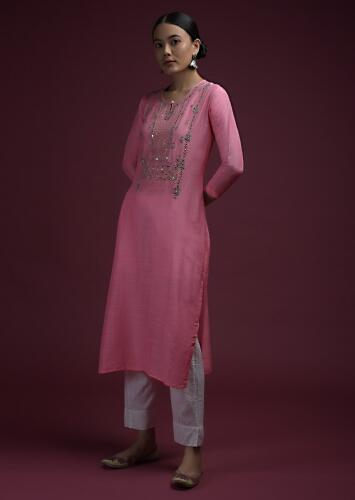 Candy Pink Straight Cut Kurti In Cotton Silk With Thread And Mirror Embroidered Yoke Online - Kalki Fashion