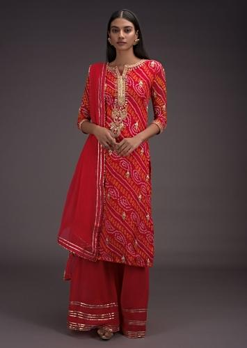 Candy Red Palazzo Suit With Bandhani Print And Gotta Embroidered Buttis And Placket Online - Kalki Fashion